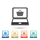 Black Shopping basket on screen laptop icon isolated on white background. Concept e-commerce, e-business, online business marketing. Color set icons. Vector Illustration