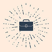 Black Briefcase icon isolated on beige background. Business case