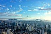Aerial landscape of foggy morning in the city life aerial scene. São Paulo, Brazil