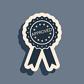 Black Approved or certified medal badge with ribbons icon isolated on grey background. Approved seal stamp sign. Long shadow style. Vector Illustration