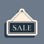 Black Hanging sign with text Sale icon isolated on grey background. Long shadow style. Vector Illustration