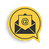 Black Mail and e-mail icon isolated on white background. Envelope symbol e-mail. Email message sign. Yellow speech bubble symbol. Vector