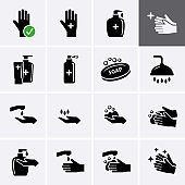 Handwash Icon set, personal cleanliness.