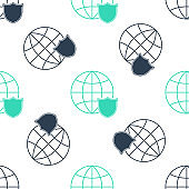 Green Shield with world globe icon isolated seamless pattern on white background. Security, safety, protection, privacy concept. Vector