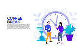 Coffee break concept with people and clock. Flat vector illustration. Landing page template for web