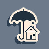 Black House with umbrella icon isolated on grey background. Real estate insurance symbol. Protection, safety, security, protect, defense concept. Long shadow style. Vector Illustration