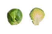 Brussel sprouts isolated. Brassica oleracea. Set of small green cabbage, vegetable