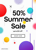 50% Summer Sale Promo Coupon. Up to 50% SALE email Banner or Coupon Design.