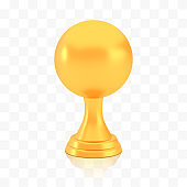 Winner sphere cup award, golden trophy logo isolated on white transparent background