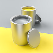 Paint pots in the colors of the year 2021 Illuminated Yellow and Ultimate Gray. Both colors also used on the split surface area