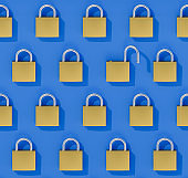 Concept Data Security Breach: A seamlessly tileable image of an array of closed padlocks with one wide open padlock. Combinable with the other two images with all closed padlocks or one slightly open padlock.
