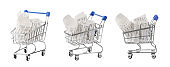 Shopping cart, concept for grocery expenses and consumerism. isolated without shadow