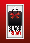 black friday sale poster with shopping bag