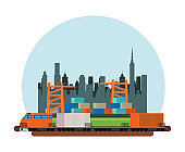 train delivery service on the city scene