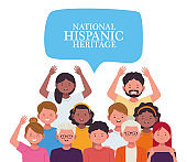 national hispanic heritage celebration with people and lettering in speech bubble