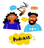 Podcast pair of characters, man and woman on the air, communication skills vector hand drawn design illustration.