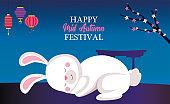 rabbit cartoon sleeping with lanterns and tree vector design