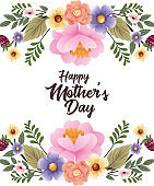 happy mothers day card with flowers frame