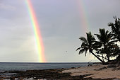 Double rainbow on a beach in Fiji