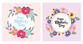 happy mothers day card with flowers set frames