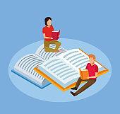 cartoon woman and man reading books sitting on big books