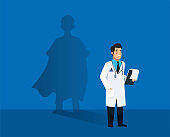 male doctor heroic with super hero shadow