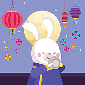 rabbit cartoon in traditional cloth with tea cup and lanterns vector design