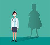 female doctor heroic with super hero shadow