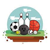 set sports equipment isolated icon