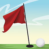 golf sport ball with flag in hole