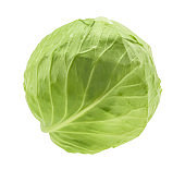 Cabbage isolated on white background without shadow