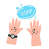 Dirty hands and soap hand drawn illustration