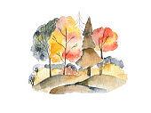 autumn tree set. tree collection.