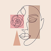 minimal woman face and geometric shapes