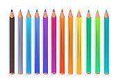 Top view vector illustration of color pencils