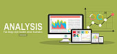 Flat design concept of business big data analysis, global analytics, financial research report, marketing statistics. Concepts for web banner and printed materials.