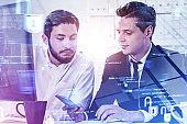European businessmen in office, cyber security