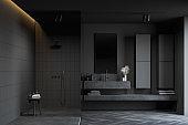 Dark gray bathroom, sink and shower