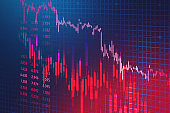Falling stock market graph, economical crisis