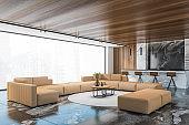 Living room corner with sofa and bar