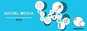 Social Network. Concept. Flat Design Illustration for Web Sites Infographic Design.