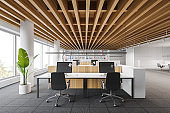 Loft open space office with meeting room