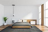 Panoramic white master bedroom interior