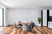 White and black dining room interior