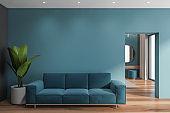 Blue living room interior with blue sofa