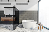 White black bathroom, tub and sink, front view