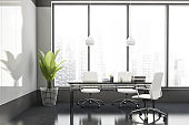White and grey panoramic CEO office