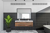 White black bathroom interior with sink