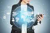 Woman with tablet, global HR interface