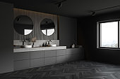 Gray and wooden bathroom corner with double sink